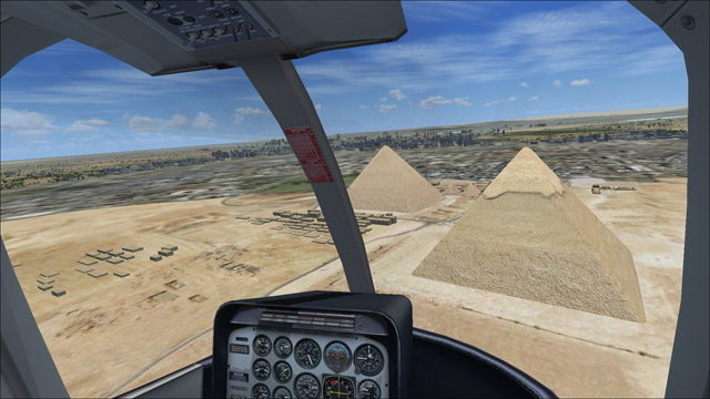Microsoft Flight Simulator X - Bell 206B - 3D virtual view of the pyramids at Giza, Cairo in the distance