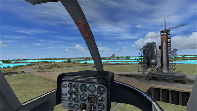 Microsoft Flight Simulator X - Bell 206B - 3D virtual view of the NASA's Kennedy Space Center in Florida
