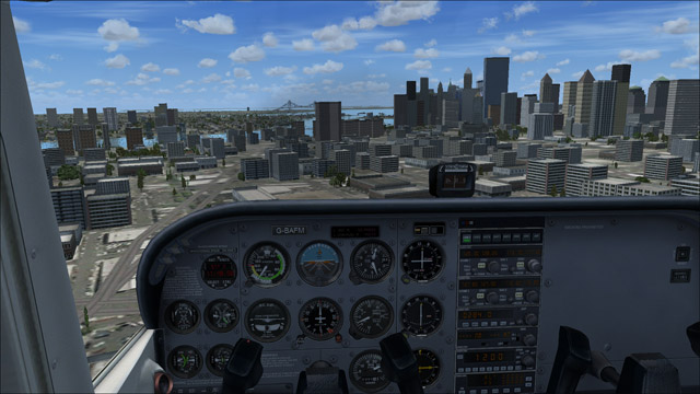 Microsoft Flight Simulator X - Cessna 172 SP Skyhawk - 3D virtual view of Manhattan's skyscrapers