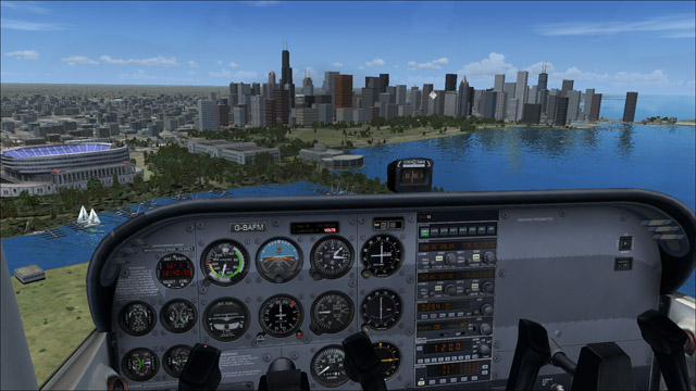 Microsoft Flight Simulator X - Cessna 172 SP Skyhawk - 3D virtual view of Chicago skyscrapers
