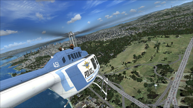Microsoft Flight Simulator X - Bell 206B - an outside police helicopter view of San Francisco
