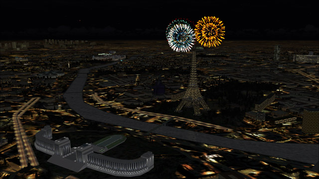 Microsoft Flight Simulator X - Bell 206B - Happy New Year over the Eiffel Tower in Paris
