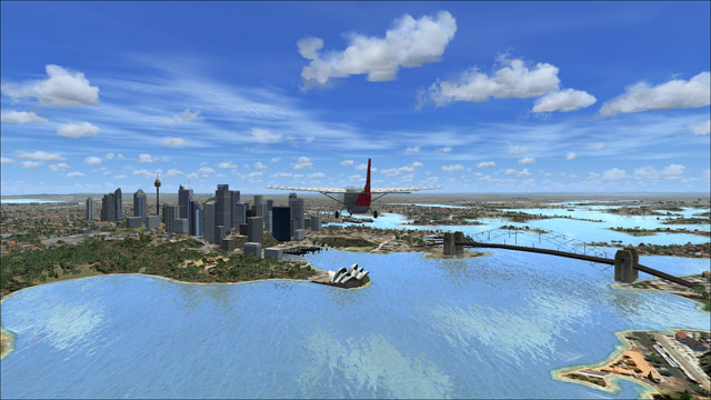 Microsoft Flight Simulator X - Cessna C208B Grand Caravan - an outside plane view of Sydney, Australia