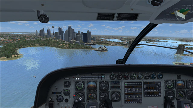 Microsoft Flight Simulator X - Cessna C208B Grand Caravan - 3D virtual view of Sydney, Australia