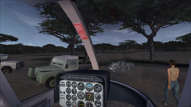 Microsoft Flight Simulator X - Bell 206B - saving a rhinoceros in the Kwazulu-Natal animal reserve, Africa
